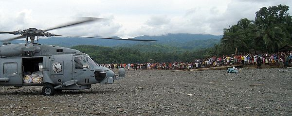 A U.S. Navy SH-60B Seahawk helicopter assigned to the