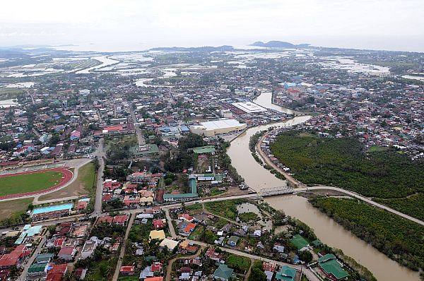 High above Roxas, standing water is visible after the wake ofTyphoon Fengshen. The northern part of the island was heaviest hit by the typhoon.
