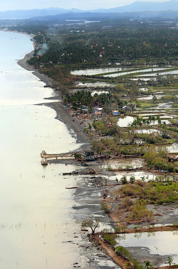 The coast of Kalibo on the northern tip of Panay Island was hit hard by Typhoon Fengshen and is receiving disaster relief assistance from the Ronald Reagan Carrier Group.