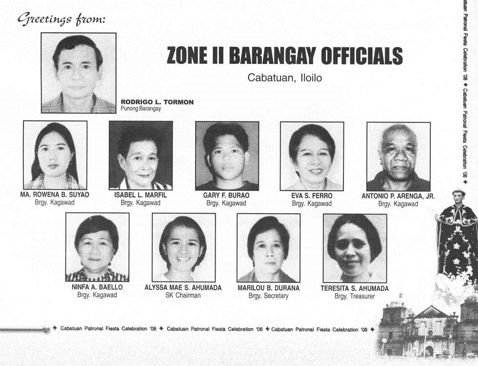 Barangay officials of poblacion zone i 2007 2010 cabatuan iloilo philippines source cabatuan fiesta 2008 souvenir program copy provided by cristina mae tronco m4hsunfo